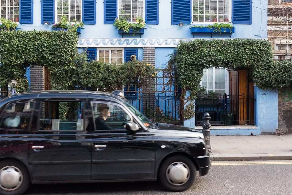 Portobello road London and black cab
