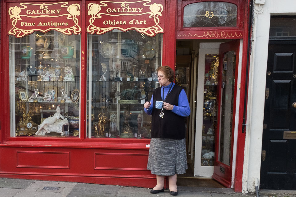 Notting Hill gallery and old woman