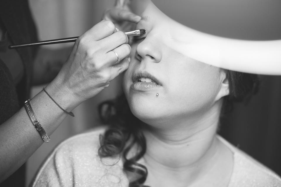 Maquillage de la mariée en noir et blanc