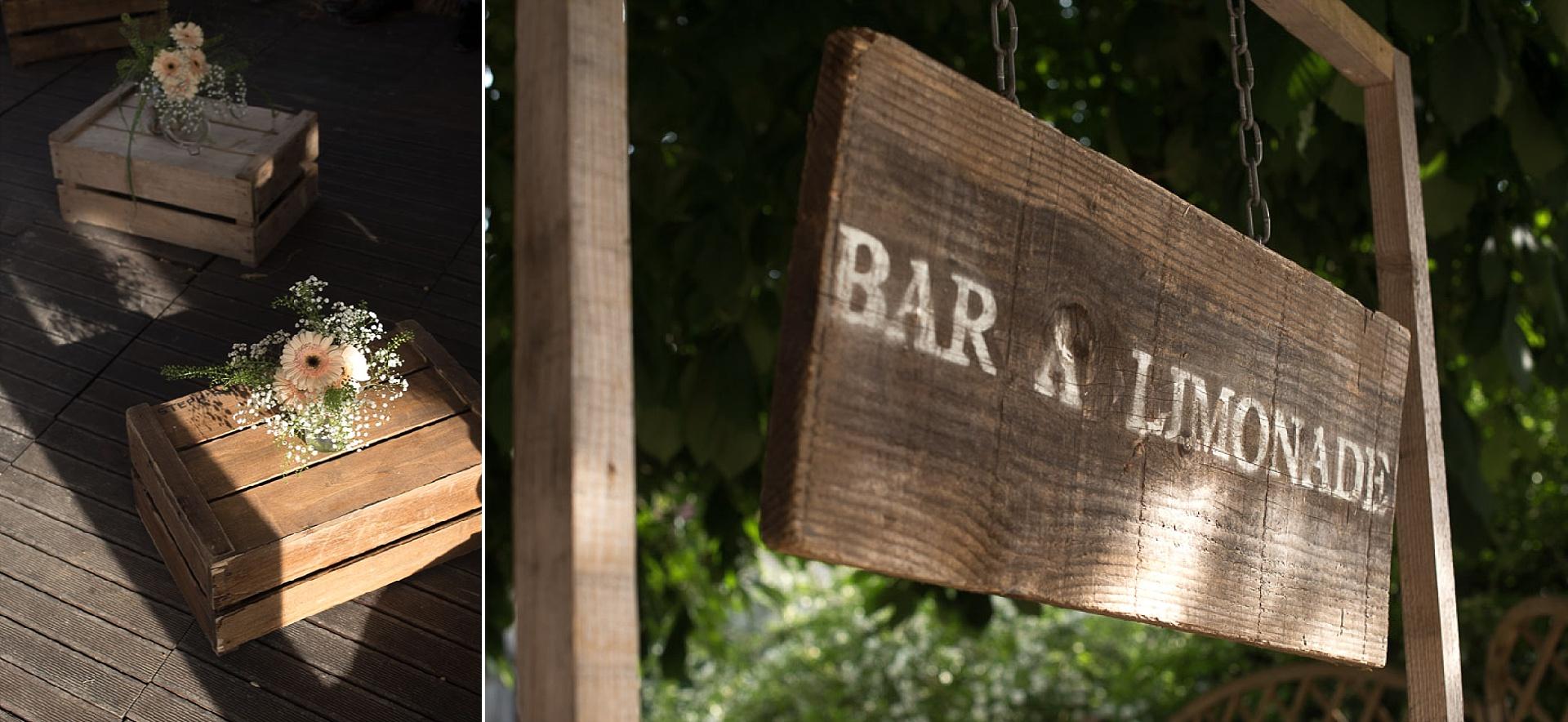 Mariage bobo chic aux Granges du Chesnay - Bar à limonade en bois