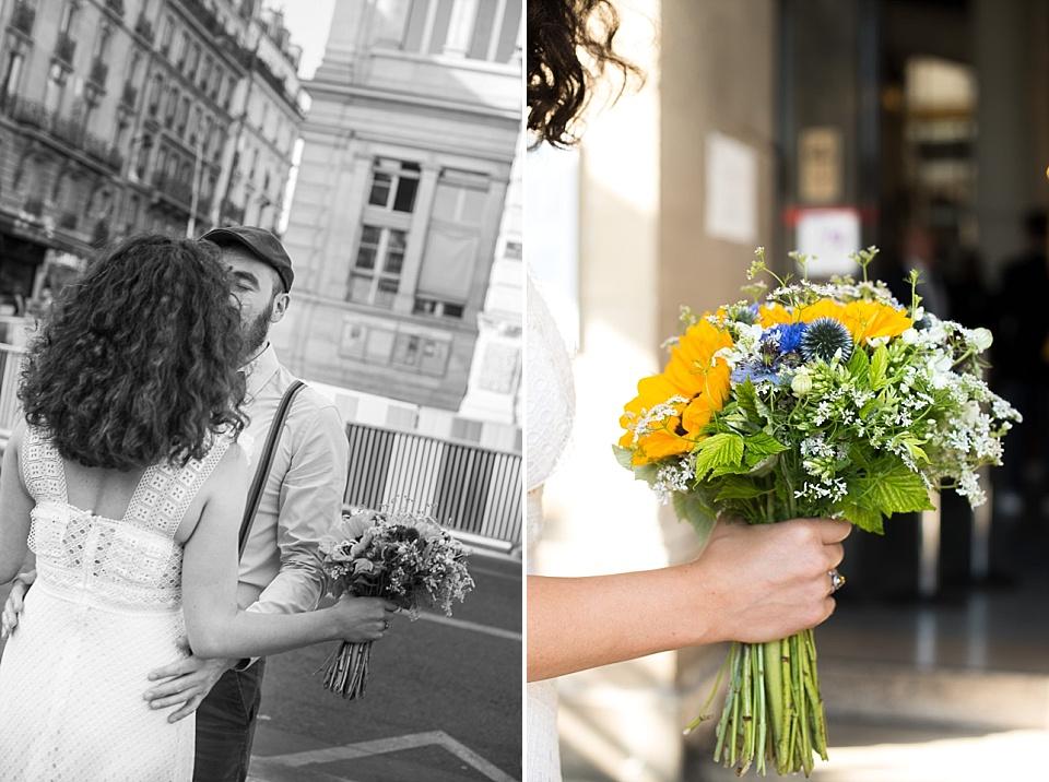 Bouquet de mariée devant la mairie du 18ème arrondissement de Paris